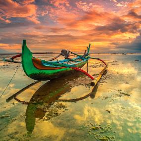 The Green Boat by Bayu Adnyana - Transportation Boats ( bali, reflection, tuban, boat, landscapes,  )