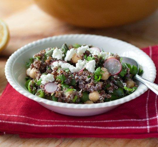 Spring Quinoa with Chickpeas, Asparagus, and Fresh Peas Recipe