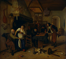 Interior of an inn with an old man amusing himself with the landlady and two men playing backgammon, known as 'Two kinds of games'