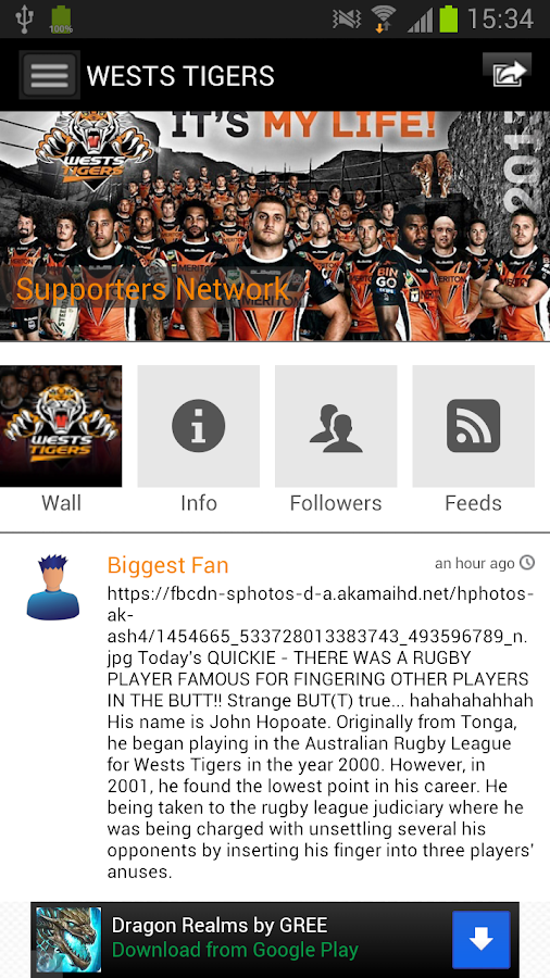 Wests Tigers social by YuuZoo - screenshot