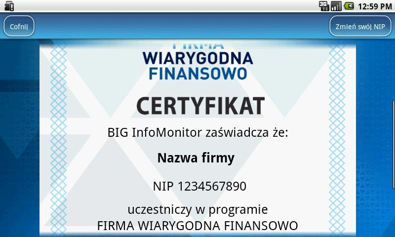 Firma Wiarygodna Finansowo- screenshot