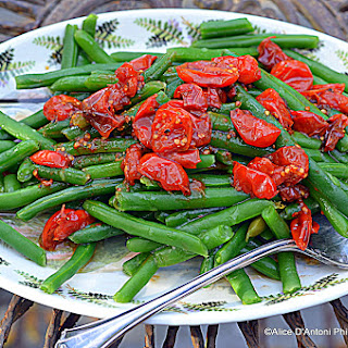 Smoked Green Beans with Roasted Cherry Tomatoes.