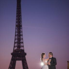 Stop the Pigeons by Marius Igas - Wedding Bride & Groom ( love, pigeon, eiffel tower, paris, wedding, bride, groom, couples )