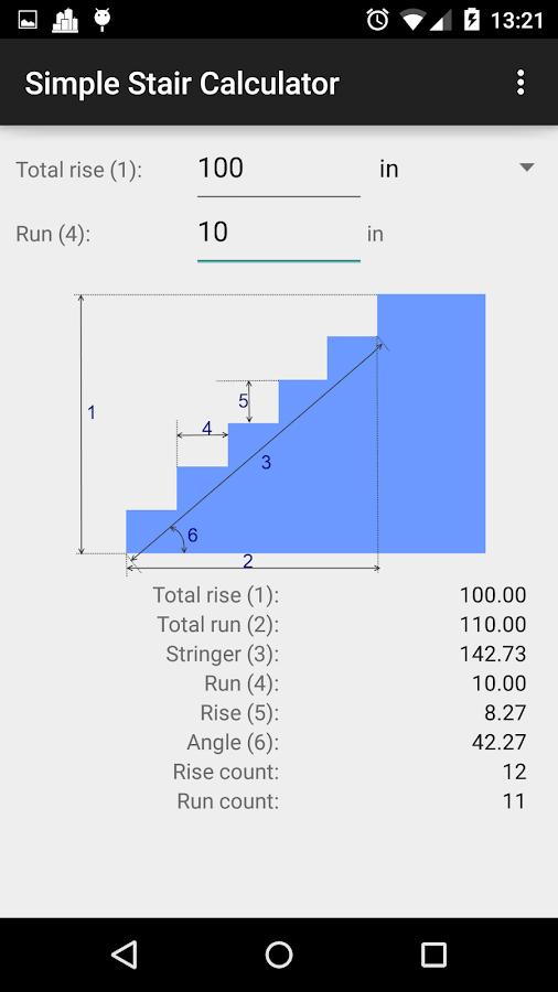 Simple Stair Calculator Screenshot
