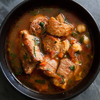 Spicy Pork Stew with Chickpeas and Sausage.