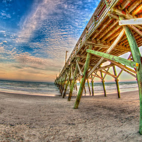 Surfside Pier HDR by Cathie Crow - Digital Art Places ( piers, hdr, nature, ocean, pier photography, hdr photography )