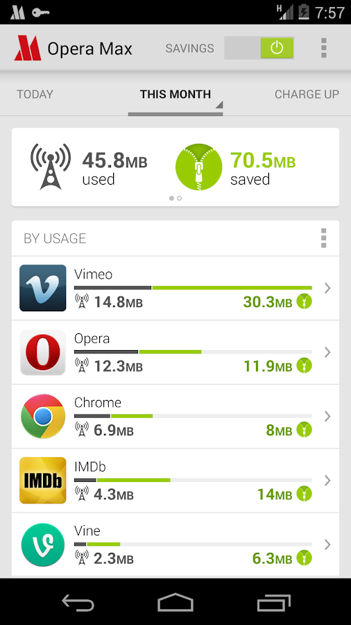 Opera Max beta for Android - screenshot