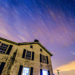 Abandoned house - long exposure composite by Fran Kat - Buildings & Architecture Decaying & Abandoned ( lights, urbex, sky, urban decay, night photography, stars, long exposure, star trails, decay, abandoned,  )