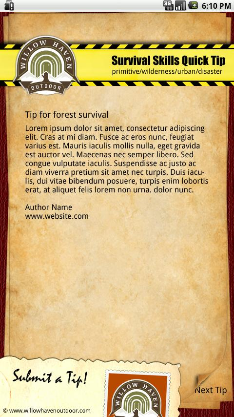 Daily Survival Tip - screenshot