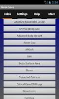 Screenshot of NurseCalcs