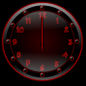 Sleek Ebony Red Clock Widget