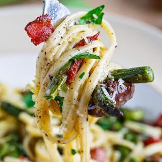 Roasted Asparagus and Mushroom Carbonara.