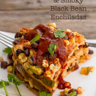 Stacked Veggie & Smoky Black Bean Enchilada.