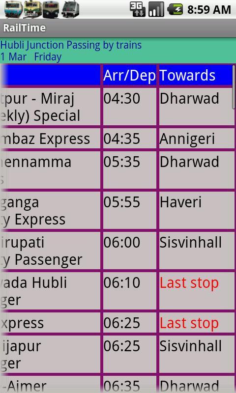 IndianRailway Offline TimeTabl - screenshot