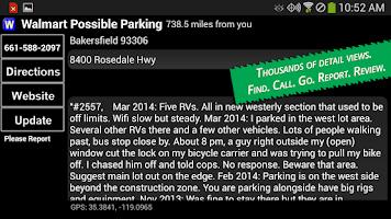 Screenshot of Walmart Overnight Parking