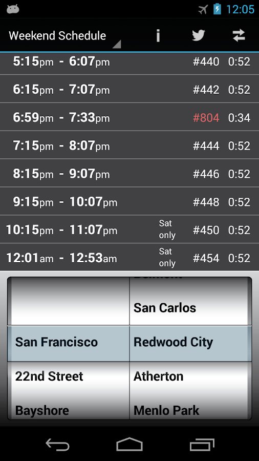 Caltrain Droid - screenshot