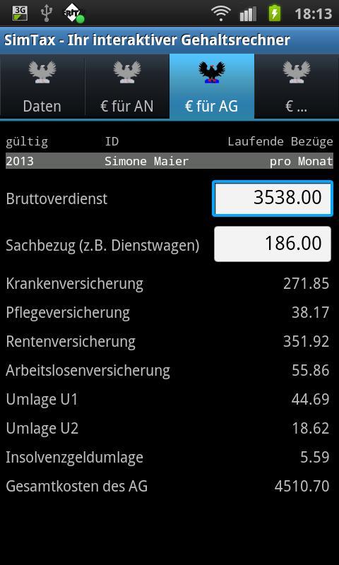 SimTax Pro Gehaltsrechner 2015 - screenshot