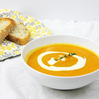 Roasted Carrot & Parsnip Soup with Lemon Ginger Cream.