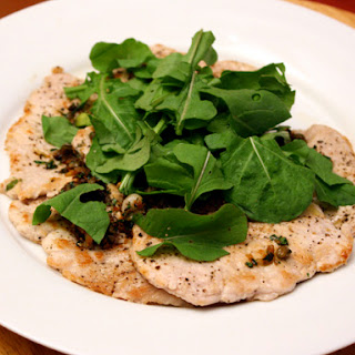 Pork Scaloppine with Lemon, Capers, and Chopped Arugula