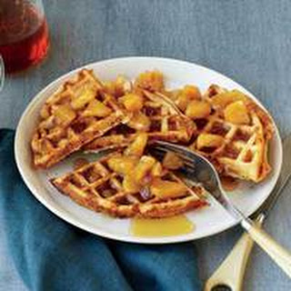 Whole Grain Waffles with Cheddar and Maple-Apple Sauce.