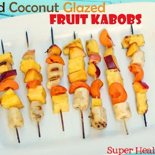 Grilled Coconut Glazed Fruit Kabobs.