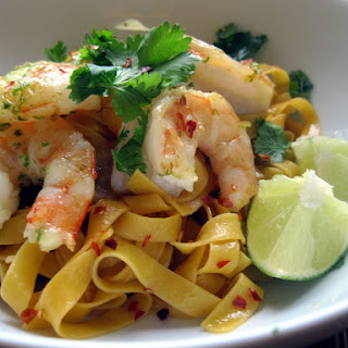 Noodles with Sauteed Shrimp and Cilantro.