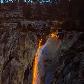 by Janet Martinez - Landscapes Waterscapes ( horsetail fall, yosemite. )