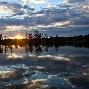 Sunset On Indianhead Lake by Brenda Hooper - Landscapes Sunsets & Sunrises ( clouds, sunset, lake, landscape, sun, , serenity, blue, mood, factory, charity, autism, light, awareness, lighting, bulbs, LIUB, april 2nd )