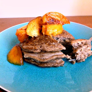 Cinnamon Oatmeal Pancakes with Grilled Peaches