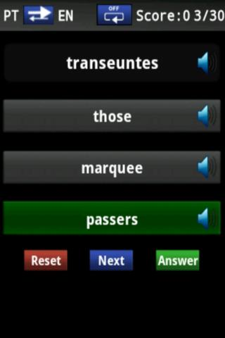 Vocabulary Trainer (PT/EN) Int - screenshot