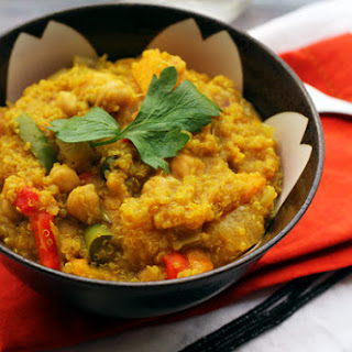One-Skillet Curried Quinoa with Butternut Squash & Chickpeas.