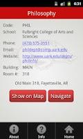 Screenshot of Univers of Arkansas Campus Map