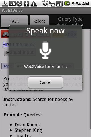 Web2Voice for Alibris- screenshot