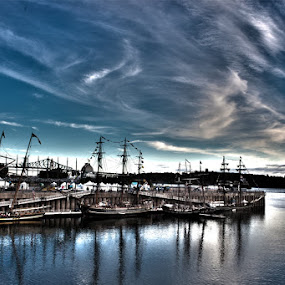 Tall Ships Montreal Old Port by Flavio Mini - Transportation Other ( clouds, port, water, montreal, old port, quebec, hdr, tall ship, device, transportation,  )
