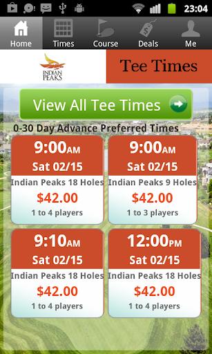 Indian Peaks Golf Tee Times