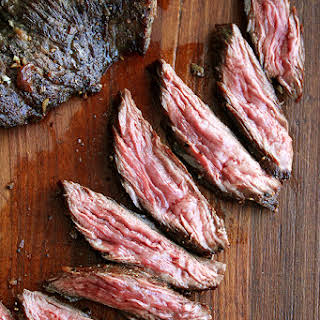 Skirt or Flap Steak with Shallots.