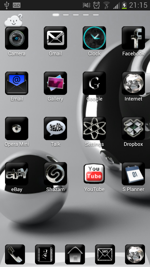 Silver Black Theme GO Launcher - screenshot