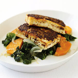 Mustard-Crusted Tofu with Kale and Sweet Potato.