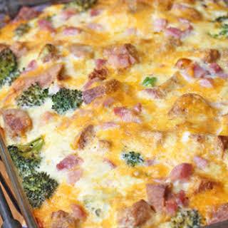 Ham and Broccoli Breakfast Casserole with Extra-Sharp Cheddar.