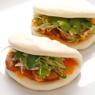 Steamed Buns with Simmered Daikon and Shiitake, Pickled Bean Sprouts, and Spicy Mayonnaise (Vegan)