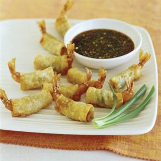 Crunchy Shrimp Wontons with Green-Onion Dipping Sauce
