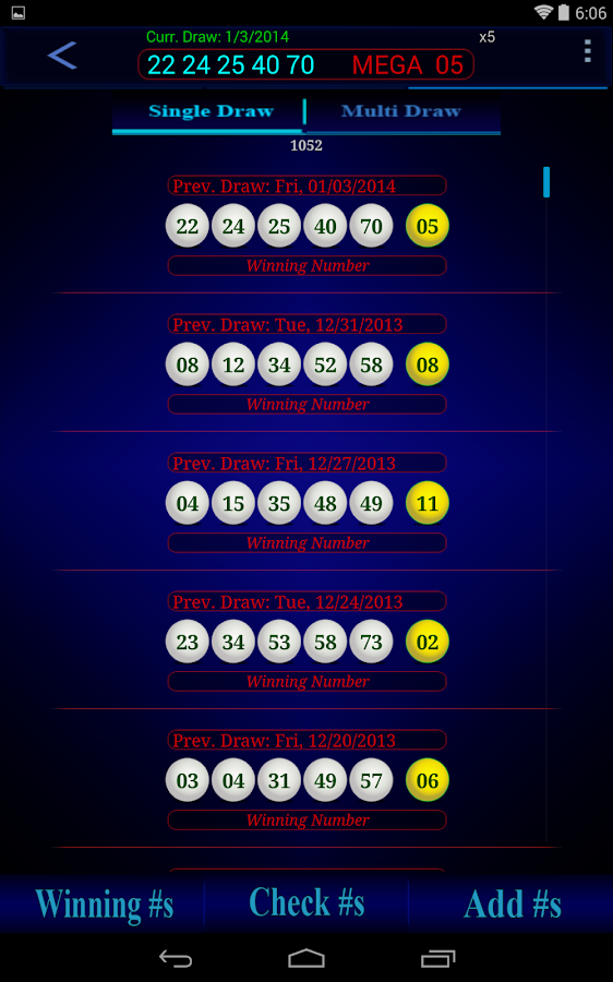 Mega Millions lottery - screenshot