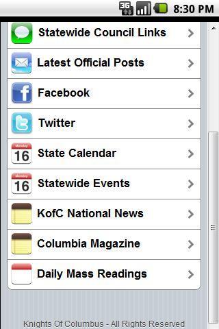 AZ KofC Mobile App- screenshot