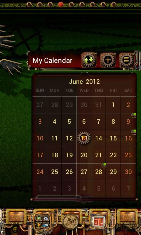 Steampunk GO Calendar Theme - screenshot
