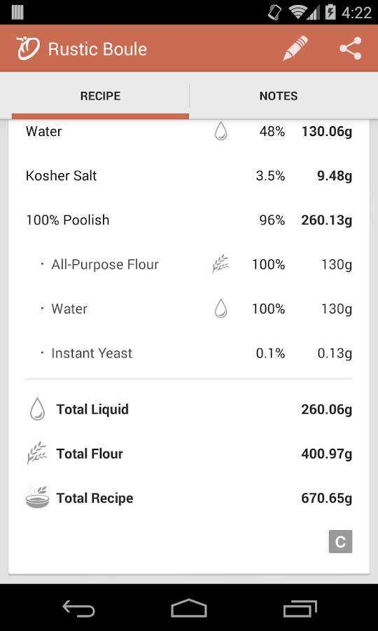 Panadero - Baking Calculator - screenshot