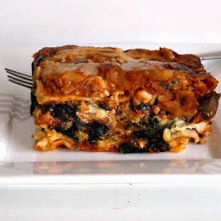 Vegetarian Spinach and Mushroom Lasagna.