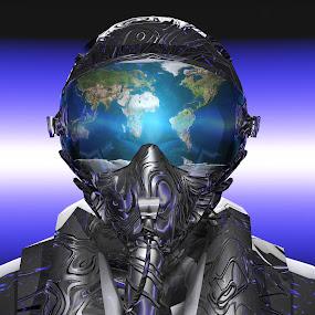 Metallic Pilot by Rico Besserdich - Illustration Sci Fi & Fantasy ( fantasy, planet, 3d, pilot, earth, rendered )
