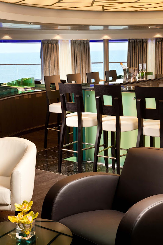 Panoramic views greet guests as they gather for early morning risers' coffee and tea in the Observation Bar on Seabourn Quest.