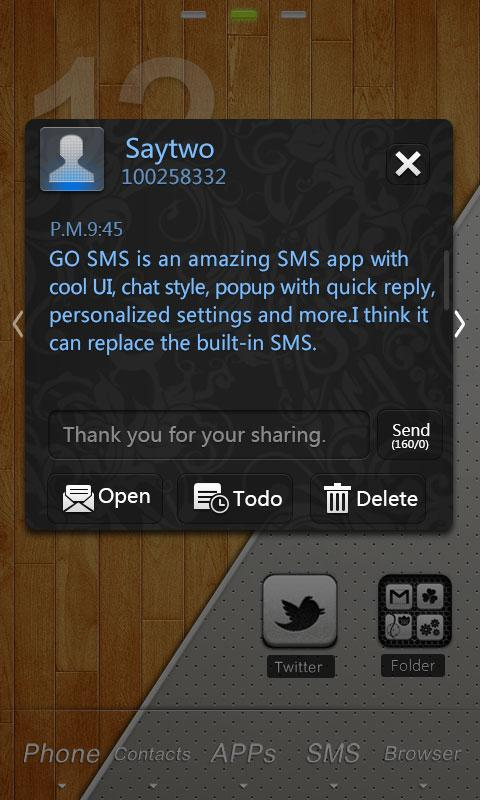 GO SMS Pro Colorglass ThemeEX - screenshot