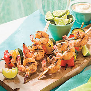 Spicy Glazed Shrimp and Vegetable Kabobs.